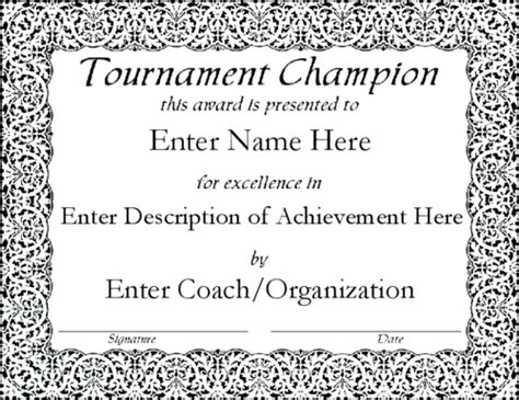 sport certificate templates for word sports award certificates certificate templates