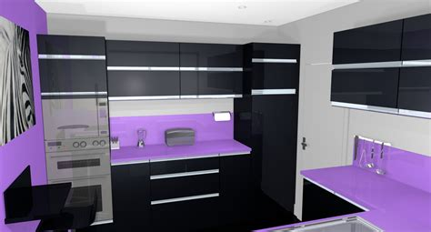 cuisine en violet exemples pour une déco cuisine noir et violet