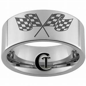 nascar wedding band men checkered flags dirt track With racing wedding rings