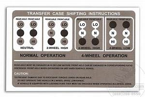 Transfer Case Shift Instructions Decal