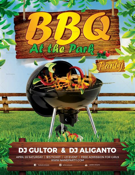 bbq summer party flyer design template  psd word publisher