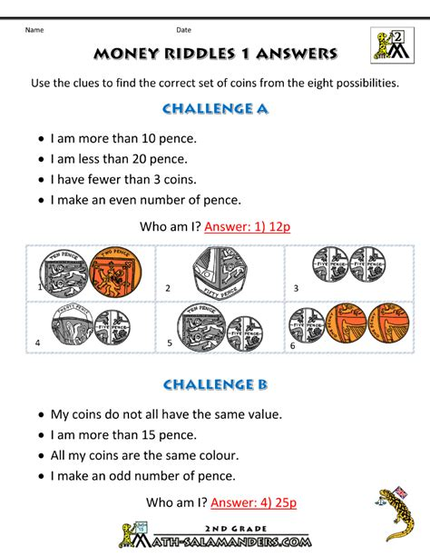 money worksheets for money riddles uk