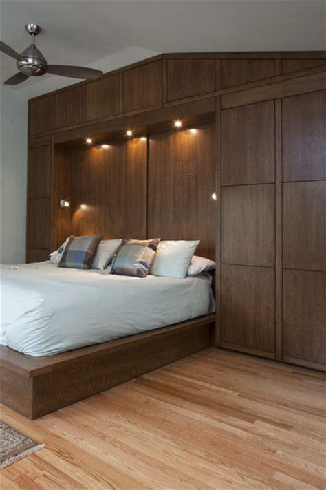 Bedwall With Builtin Cabinet Surround & Hidden Door