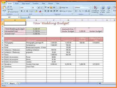 printable wedding budget spreadsheet excel