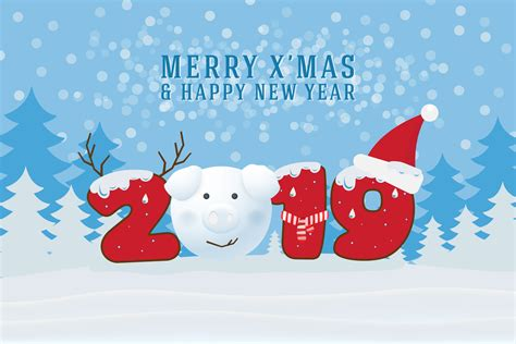 merry christmas and happy new year 2019 christmas greeting card download free vectors