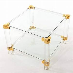 coffee or side table lucite glass gold brass 1970 for With lucite gold coffee table