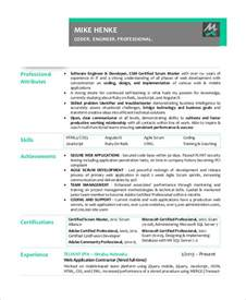 scrum master resume template sle scrum master resume 8 exles in pdf