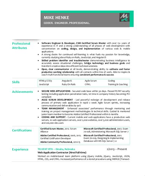 Agile Resume Experience by Sle Scrum Master Resume 8 Exles In Pdf