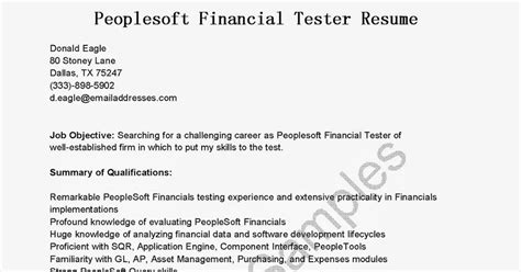 resume sles peoplesoft financial tester resume sle