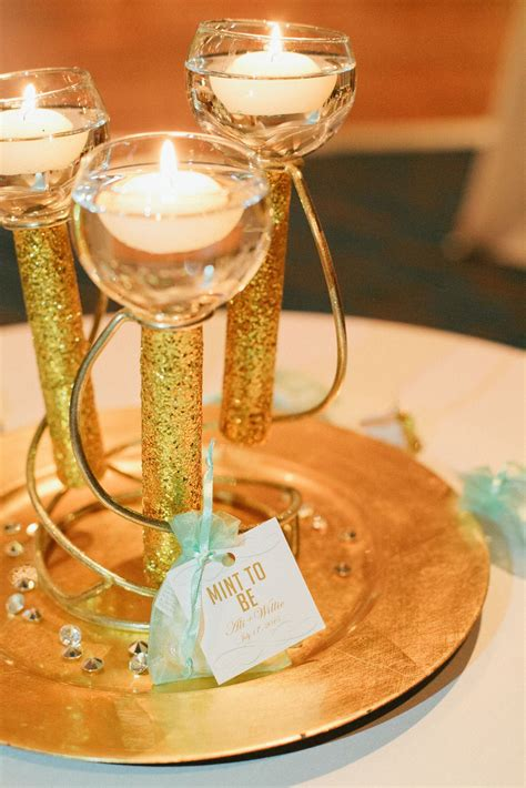 diy gold glitter floating candle centerpieces
