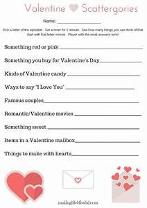 Valentine Scattergories Printable