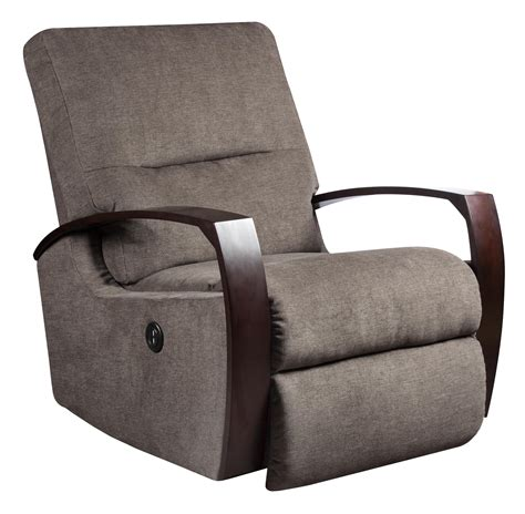 rocker recliner with wooden arms by southern motion wolf