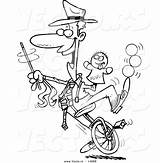 Unicycle Coloring Cartoon Entertainer Outline Doing Tricks Vector Male Toonaday sketch template