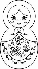 Doll Coloring Dolls Russian Matryoshka Printable Nesting Drawing Colouring Clip Clipart Barbie Sweetclipart Patterns Babushka Template Silhouette Kokeshi Pattern Crafts sketch template