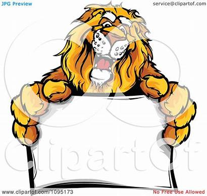 Lion Mascot Clipart Royalty Friendly Holding Illustration