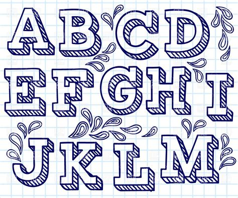 Font Decoration Hand Drawn Font Shaded Letters And Decorations 29198