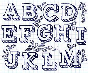 Hand drawn font shaded letters and decorations 29198 for 3d vinyl letters