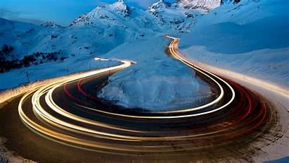 Snow Exposure Road Winter 4k Turn Glacier