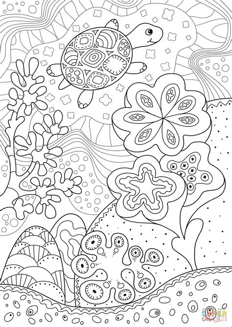 cute sea turtle  coral reef coloring page  printable coloring pages