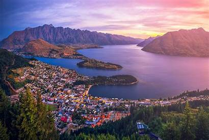 Zealand Island South Queenstown Sunset Downtown Aerial