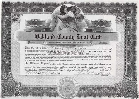 Oakland County Boat Club by Oakland County Boat Club Certificate Of Membership