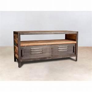 Petit Meuble Tele : meuble tv bois recycl 1 niche et 2 portes coulissantes m talliques 160x45x60cm caravelle ~ Teatrodelosmanantiales.com Idées de Décoration