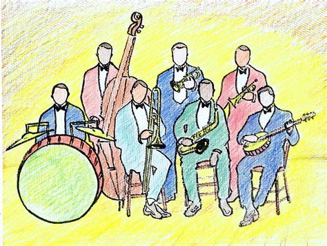 1920s Jazz Band Drawing By Mel Thompson