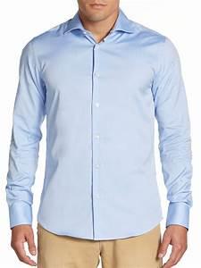 Scotch & soda Woven Cotton Dress Shirt in Blue for Men | Lyst