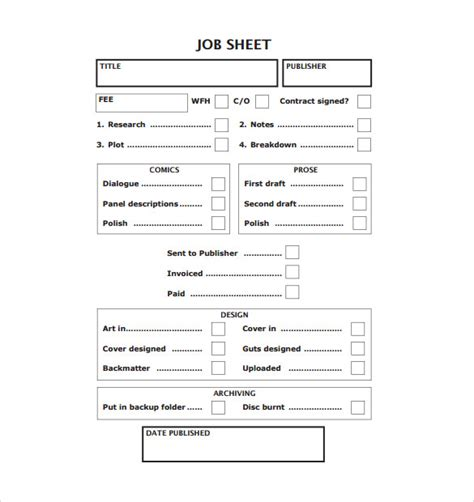 job sheet template examples   sample templates