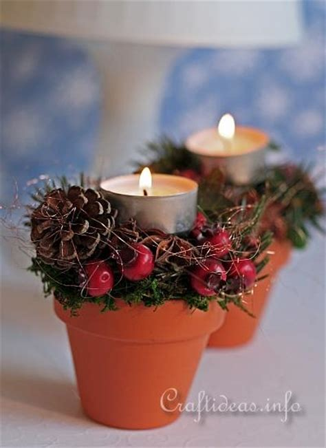 christmas decoration diy terracotta pots tea light