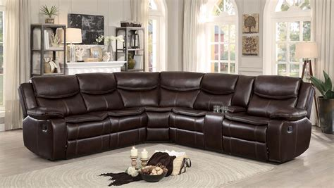 homelegance bastrop reclining sectional sofa dark brown