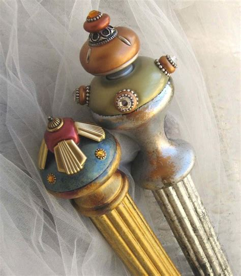 finials and painted poles eclectic curtain
