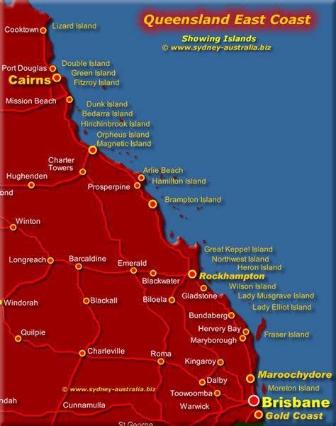queensland map showing east coast  islands