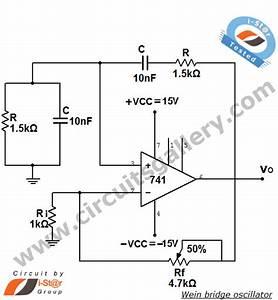 Wein Bridge Oscillator Using Ic 741 Op Amp