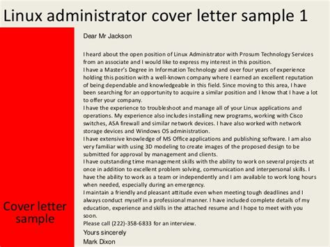 linux administrator cover letter