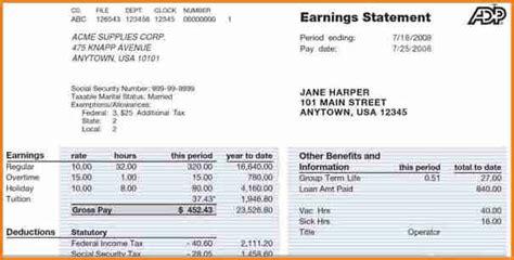 payroll statement template simple salary slip