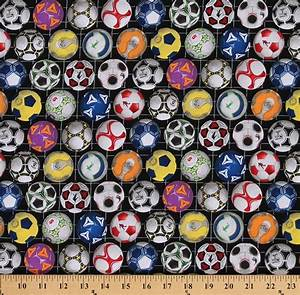 Cotton Sports Soccer Balls Ball Multi Color Cotton Fabric Print By The Yard  276