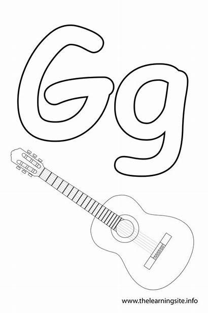 Letter Alphabet Guitar Coloring Outline Pages Flash
