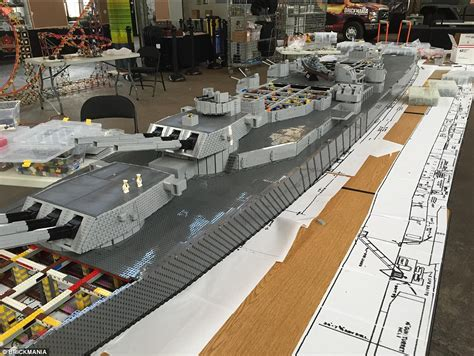Boat Kept On A Larger Ship by Building World S Lego Model Of Uss Missouri