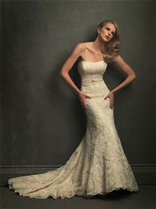 classic mermaid strapless champagne lace wedding dress With strapless lace mermaid wedding dress