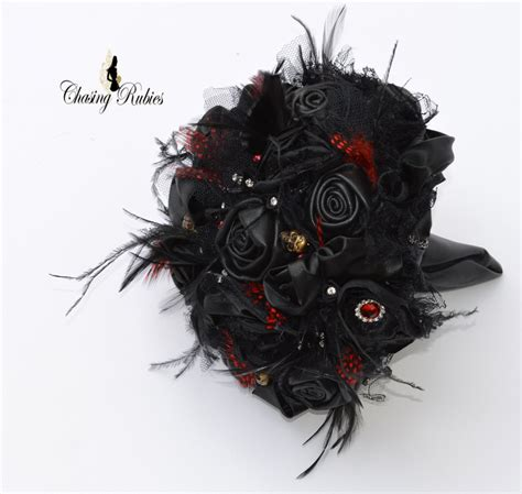 Black Leather Bouquet Gothic Wedding Bouquet Day Of The Dead