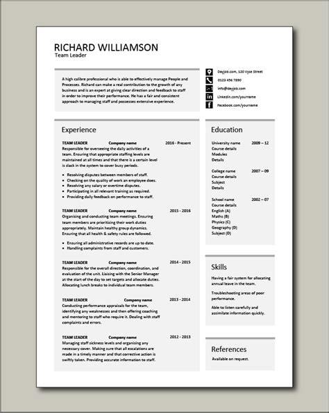 team leader resume supervisor cv  template