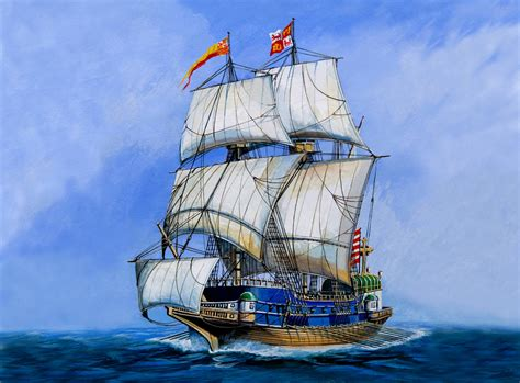 art navy spanish golden galleon  heavily shipping goods