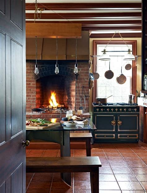 fabulous kitchens showcasing warm  cozy fireplaces country chic kitchen eclectic