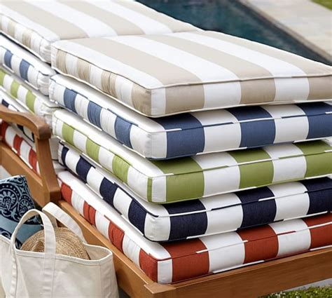 blue and white striped patio cushions sunbrella 174 piped outdoor chaise cushion stripe pottery