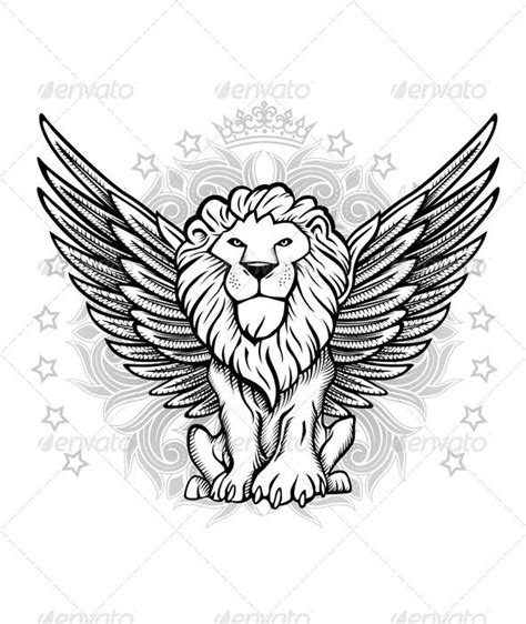 winged lion front view drawing animals characters