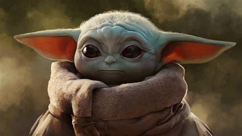 star wars artwork  mandalorian baby yoda  hd