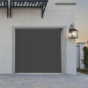 porte de garage sectionnelle premontee motorisee grise With porte de garage sectionnelle grise