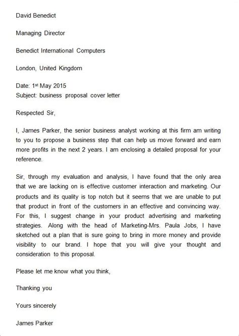sample business proposal cover letter proposal letter