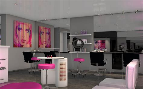 salon de coiffure moderne touche de rose